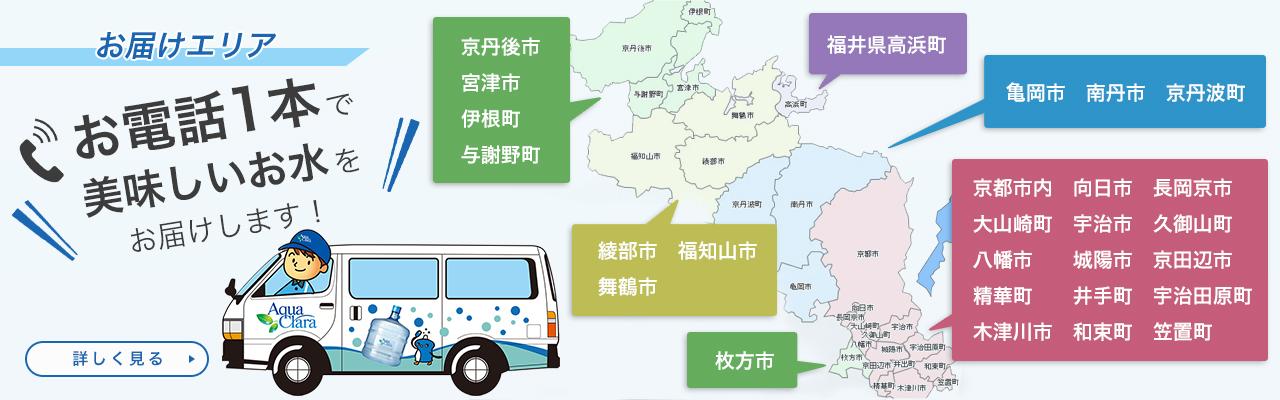 アクアクララ京都の配送エリアマップ